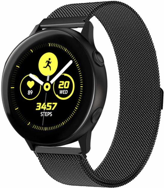 Zwart 20mm Samsung Galaxy Watch Active Milanese smartwatch horloge bandje universeel