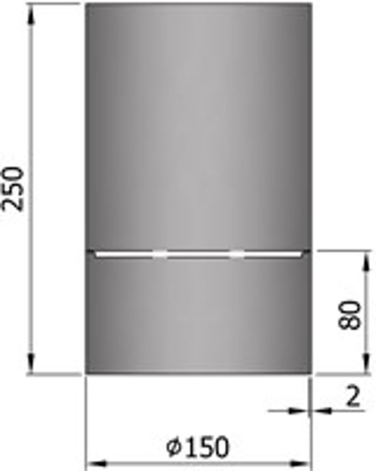 TT Kachelpijp Ø150 condensring 250mm grijs - grijs - 2mm - staal - H250 Ø150mm