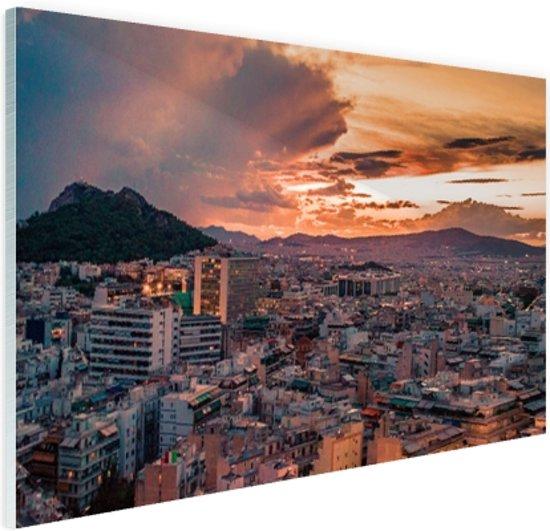 Avondlucht Athene Glas 60x40 cm - Foto print op Glas (Plexiglas wanddecoratie)