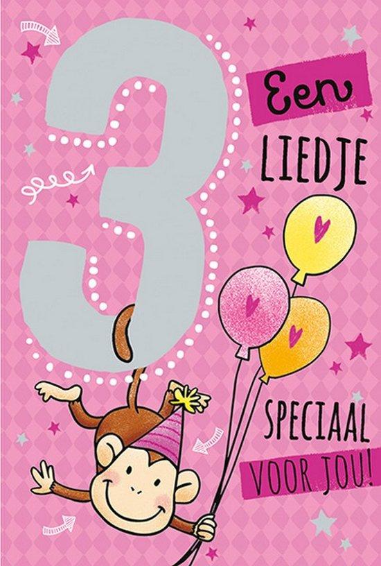 Cijferkaart met muziek 3 Jaar een Liedje speciaal voor jou! Roze