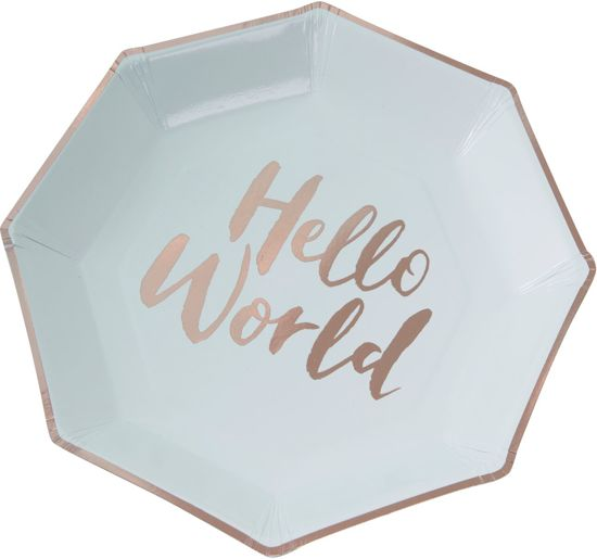 Ginger Ray 'Hello World' wegwerp bord - mint groen - Set-8 Valentinaa