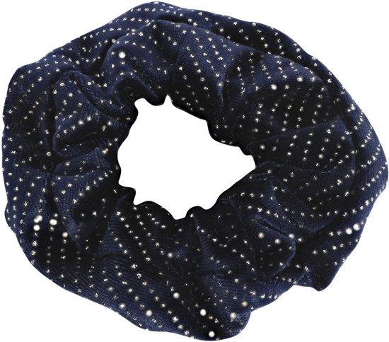 Lucardi Diversen  - Velvet scrunchie blauw met glitter