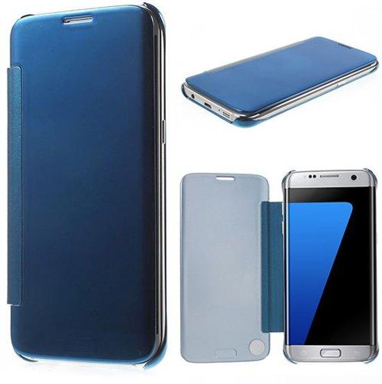 Samsung Galaxy S7 Edge Glanzend Flip Hoesje Blauw in Koekoek