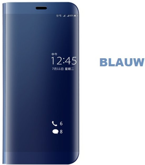 premium selection c12c5 1e4ab Clear View Stand Cover voor de Huawei P Smart _ Blauw