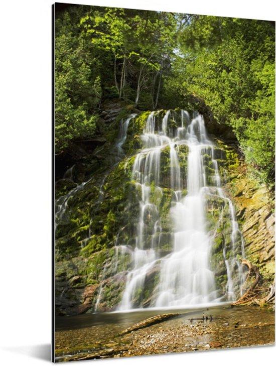 Waterval in het Nationaal park Forillon in Canada Aluminium 80x120 cm - Foto print op Aluminium (metaal wanddecoratie)