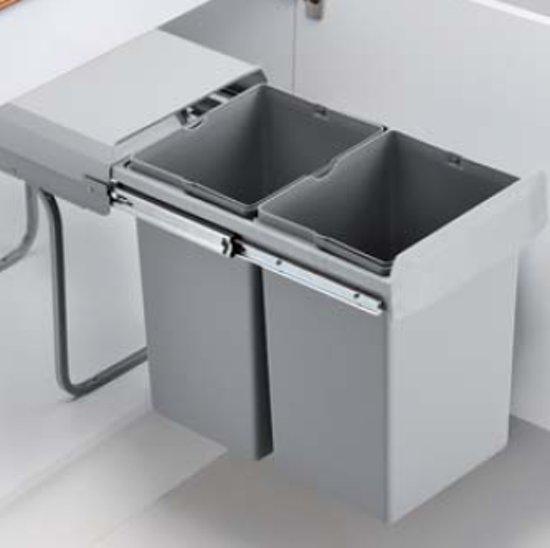 Wesco Double Deluxe Inbouw Prullenbak - 2 x 15 l