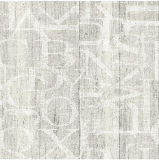 Vintage hout/letters grijs behang (vliesbehang, grijs)