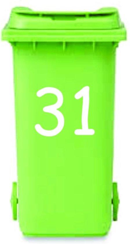 Magnifiek bol.com | Set van 2 x Sticker kliko container huisnummer wit , kimano YU75