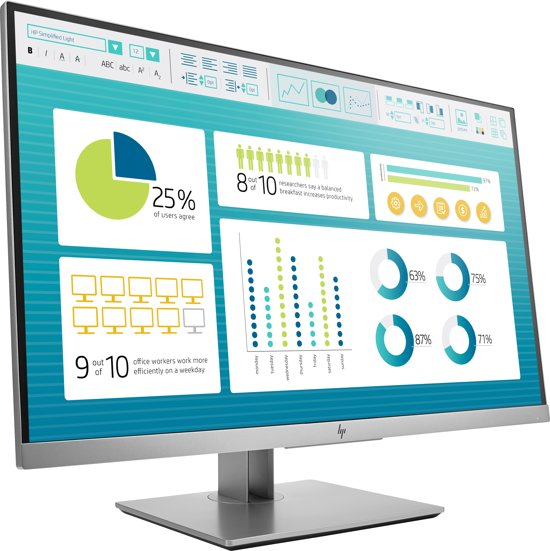 HP EliteDisplay E273 LED display 68,6 cm (27'') Full HD Flat Zwart, Zilver