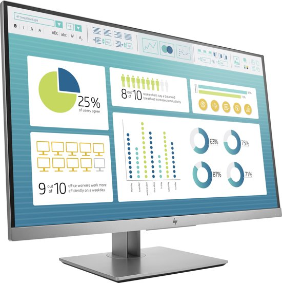 HP EliteDisplay E273 LED display 68,6 cm (27'') Full HD Flat Zwart, Zilver