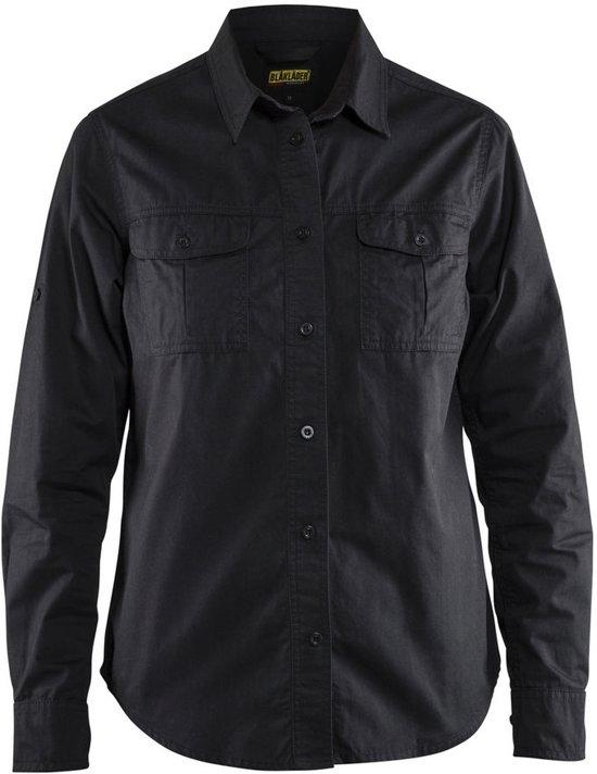 Blåkläder 3208-1135 Twill overhemd dames Zwart maat XXXL