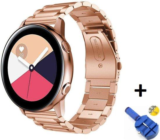 Metalen Armband Voor Samsung Galaxy Watch Active 1/2 40/44 MM Horloge Band Strap - iWatch Schakel Polsband RVS - Inclusief Inkortset - Rosegoud Kleurig
