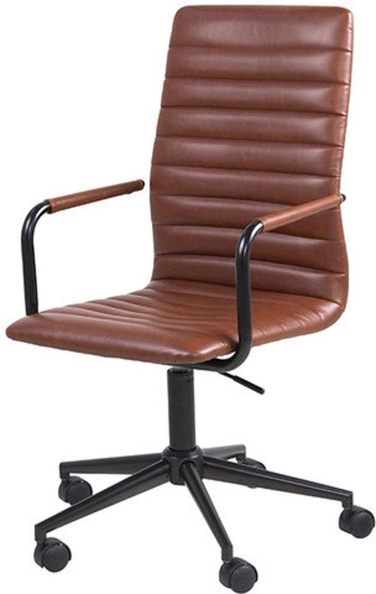 Leren Bureaustoel Bruin.Bureaustoel Retro Bruin Pu Leder Met Zwart Metalen Poten