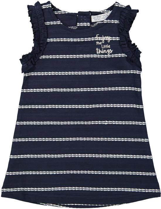abe49d1370be16 Dirkje Meisjes Jurk - Navy + white stripe - Maat 110