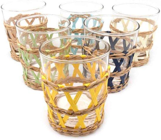Coté Table Lacis - set van 6 multicolor 25cl glazen met rieten houder