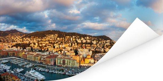 Een panoramisch beeld van Nice in Frankrijk Poster 40x20 cm - Foto print op Poster (wanddecoratie woonkamer / slaapkamer) / Europese steden Poster