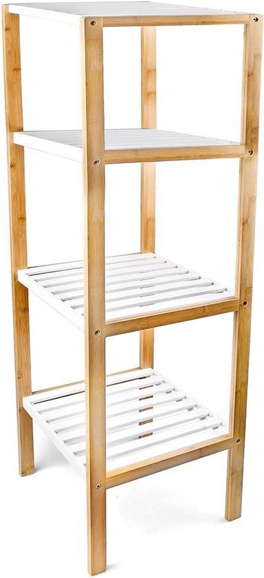 Open Kast Voor Badkamer.Bol Com Relaxdays Kast Bamboe 4 Witte Planken Open Kast