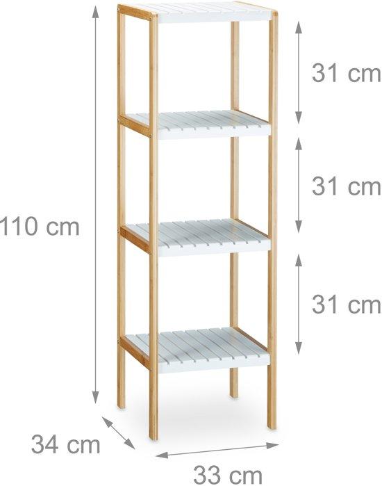Relaxdays Kast Bamboe 4 Witte Planken Open Kast Stellingkast Plankenkast Badkamer
