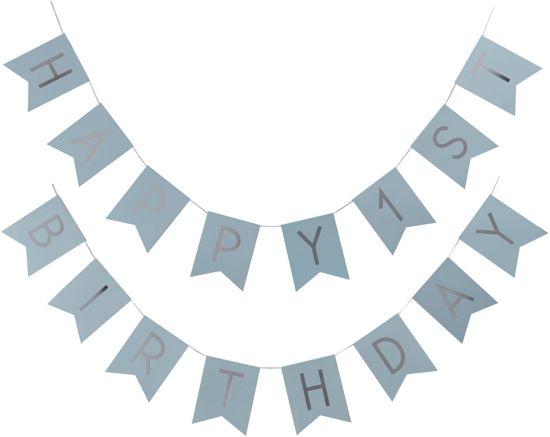 Ginger Ray Pastel Perfection 'Happy 1st Birthday' eerste verjaardag slinger - Pastel blauw 2,50 meter Valentinaa