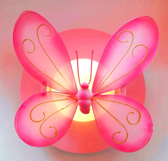 Funnylight LED kids lamp roze vlinder XL roze - Trendy plafonniere voor de baby en kinder slaap kamer
