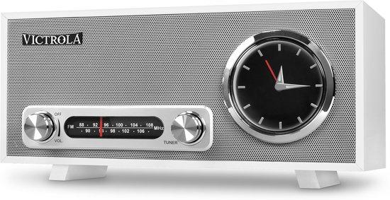 Victrola VC-150 Retro Radio Wekker Bluetooth Wit