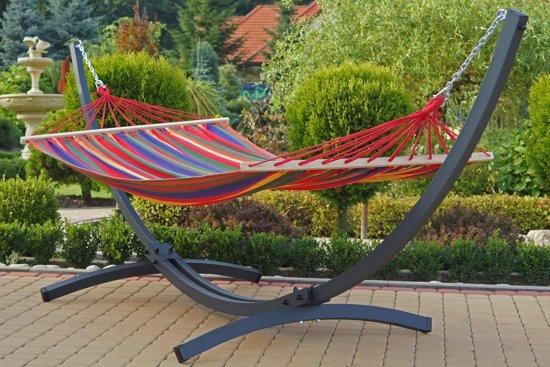 Potenza Titanium- Onverwoestbare verzinkte Tweepersoons Hangmatset /2- persoons Hangmat met standaard (draagkracht:350 kg)