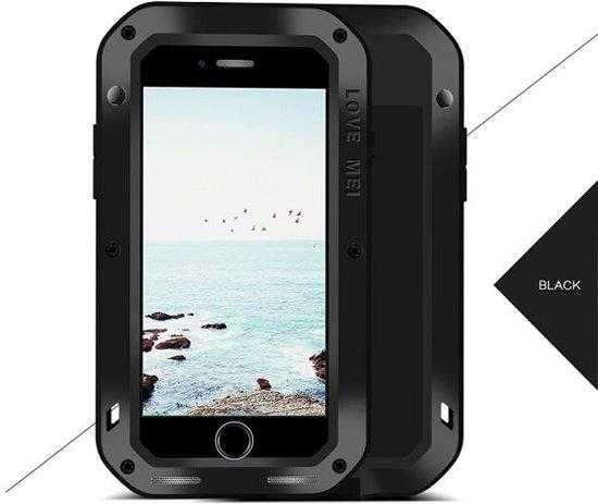 Metalen fullbody hoes voor Apple iPhone 7 Plus en iPhone 8 Plus, Love Mei, metalen extreme protection case, zwart