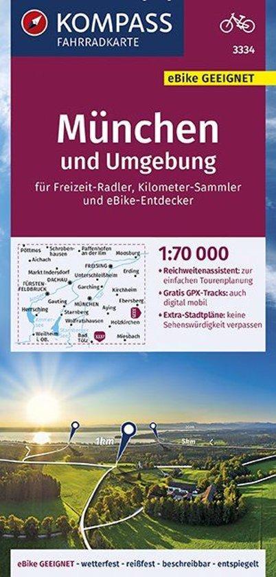 KOMPASS Fahrradkarte München und Umgebung 1:70.000, FK 3334