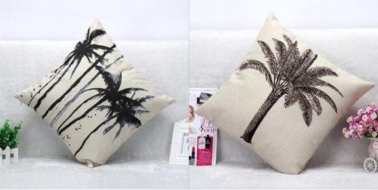 Sierkussen covers/hoezen (set van 2 stuks) tropisch decor zwart-wit