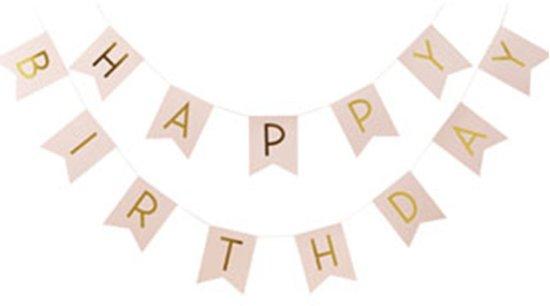 Slinger - Happy Birthday - Pastel roze 2.50 meter