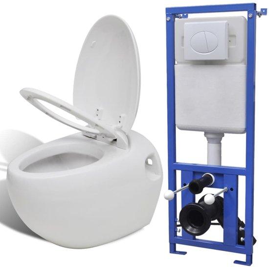 Uitzonderlijk bol.com | vidaXL Hangend ei-design toilet met ingebouwde stortbak wit YE21
