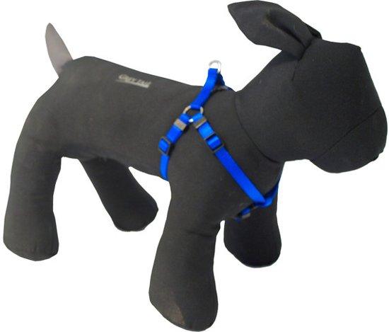 Nylon bh-tuig voor hond ruit Blauw 10 mmx25-35 cm