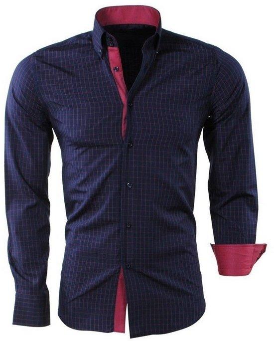 Heren Overhemd Rood.Bol Com Montazinni Heren Overhemd Geblokt Slim Fit Navy