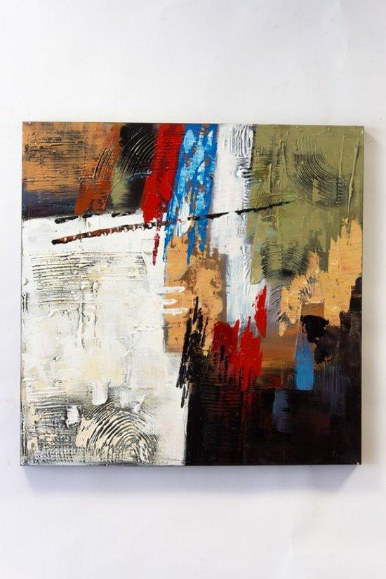 """Olieverfschilderij op doek 75 bij 75 cm. """"kleur vlakken"""" Abstract."""