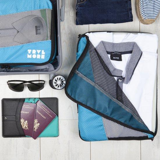 TravelMore Packing Cubes Set - Koffer Organizer - Bagage Inpak Kubussen - Pack Compression Cubes - Travel Bag Ordening - Reis Accessoires - Tas Opbergzakken - 3 Stuks - Lichtblauw