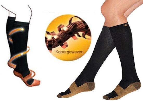 Duopack Compressiekousen / Steunkousen - Elastische Hardloop / Sport / Vliegtuig Compressie Sokken - Running Travel Sock - Reissokken / Reis Kousen - Heren/Dames - Maat 41/42/43/44/45/46