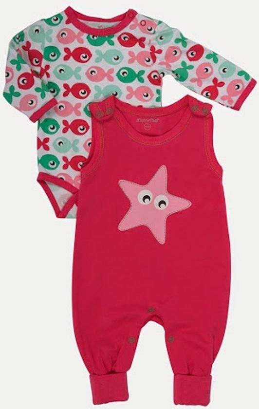 Minymo - newborn baby romper en body - model Angel - roze - Maat 74