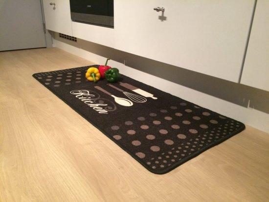 Keukenmat met decoratief opschrift finesse 50x120cm kitchen grijs a - Tapis de cuisine casa ...