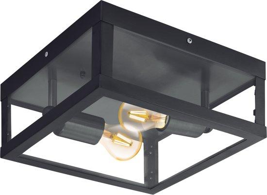 EGLO Vintage Alamonte 1 - Buitenverlichting - Wand/Plafondlamp - 2 Lichts - Zwart