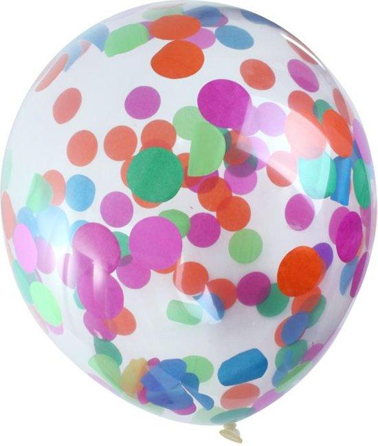 Ballon transparant confetti bont per 6 stuks (30cm/12 inch) Valentinaa