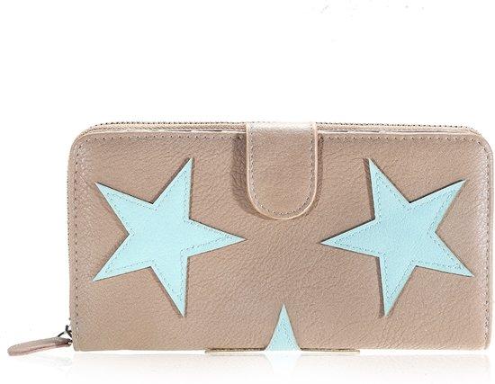 d0396a3ee5f bol.com | Grote trendy dubbele portemonnee met sterren| bruin | PU ...