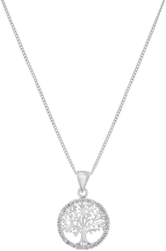 Lucardi - Zilveren ketting met hanger levensboom zirkonia