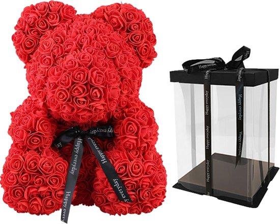Teddy Rose Bear met Gift Box 40cm - Rood