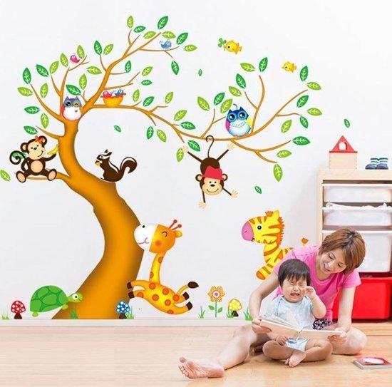 Muursticker Babykamer Boom Met Dieren.Muursticker Boom En Dieren In De Jungle