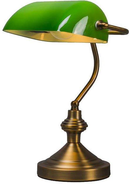 QAZQA Banker Tafellamp - 1 lichts - mm - brons