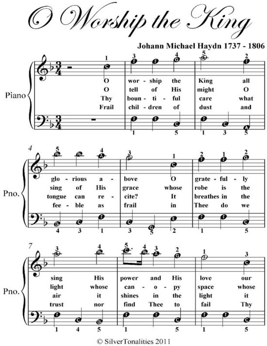 Bolcom O Worship The King Easy Piano Sheet Music Ebook