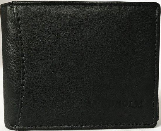 d67001c43b6 Lundholm - Portemonnee heren leer- compact en billfold formaat - RFID anti  skim - zwart