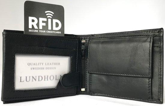 fe1380c203f bol.com | Lundholm - Portemonnee heren leer- compact en billfold formaat - RFID  anti skim - zwart