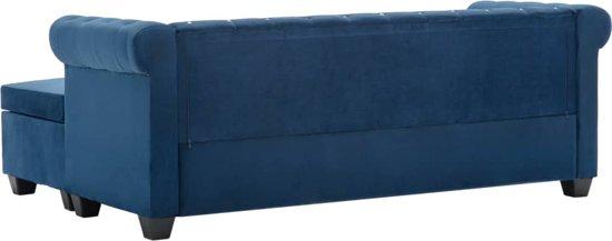 vidaXL Bank Chesterfield-stijl L-vormig 199x142x72 cm fluweel blauw