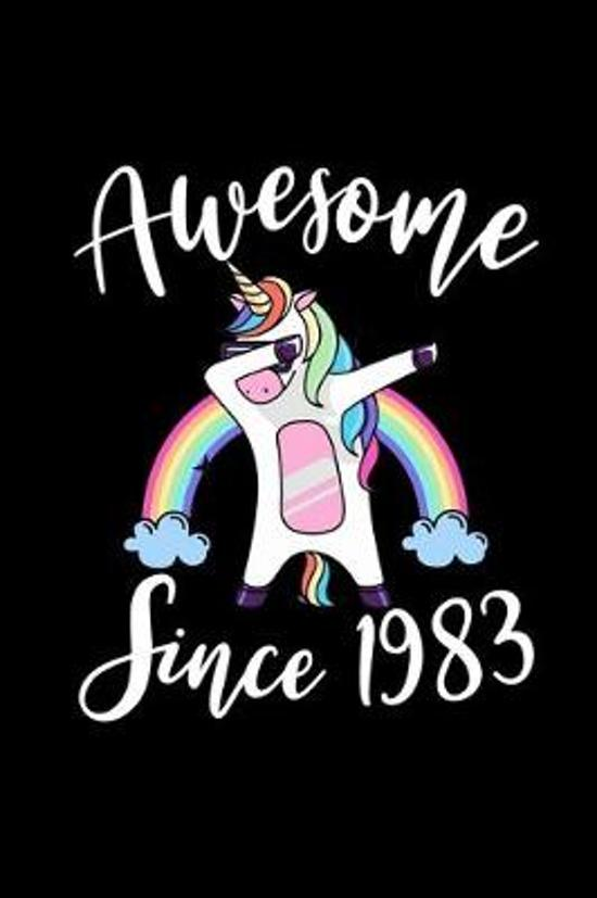 Awesome Since 1983: Birthday Girl Rainbow Dabbing Unicorn Notebook And Journal To Write In For 36 Year Old Boy Girl - 6x9 Unique Diary - 1
